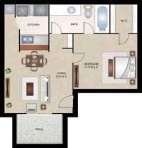 Brussels - One Bedroom / One Bath - 506 Sq. Ft.*