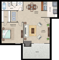 Dublin - One Bedroom / One Bath - 680 Sq. Ft.*