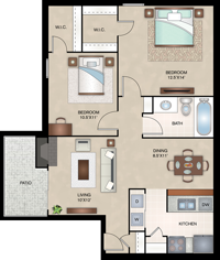 Madrid - Two Bedroom / One Bath - 832 Sq. Ft.*