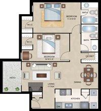 Monte Carlo - Two Bedroom / Two Bath - 965 Sq. Ft.*
